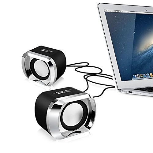 Computer Speakers BeBomBasics SP20 Usb 2.0 Multimedia Small Speaker with Stereo Sound for Laptops and PC or TV,3.5mm Black