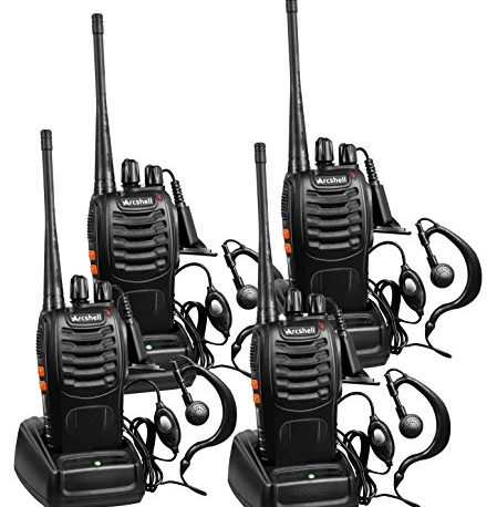 Arcshell Rechargeable Long Range Two Way Radios With Earpiece 4 Pack