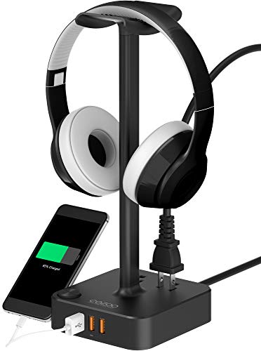 suitable for gaming dj wireless earphone display black headphone stand with usb charger. Black Bedroom Furniture Sets. Home Design Ideas