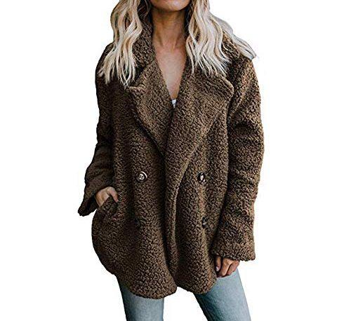 bc467bfa26b Ulanda Women's Long Sleeve Thick Hooded Open Front Cardigan Autumn Winter  Warm Fuzzy Fleece Jacket Coat S, X Coffee